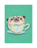 Pug in a teacup - Hannah Stephey Cartoon Dog Print
