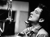 Bob Dylan During Recording of His 1st Disc in New York at Columbia Studios