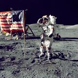 Eugene A Cernan  Commander  Apollo 17 Salutes the Flag on the Lunar Surface