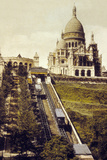 Montmartre  Paris  C 1905 : the Funicular and the Sacre Coeur