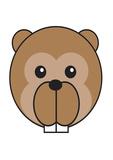 Beaver - Animaru Cartoon Animal Print Giclée par Animaru