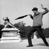 Actor Jose Pantieri Clowning around in Tuileries Gardens  Paris  1962