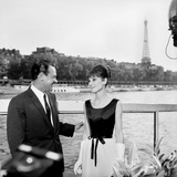 "Actors William Holden and Audrey Hepburn on the Set of the Film ""Paris When it Sizzles""  Paris"