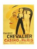 Affiche Pour La Revue Paris En Joie Au Casino De Paris Dans Laquelle Chante Maurice Chevalier  1937