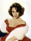 American Actress Elizabeth Taylor with a Red Dress and a Fur Stole C 1959