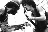 Guitarists David Brown And Carlos Santana During Music And Art Festival In Woodstock  August 1969