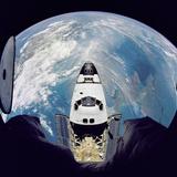 Space Shuttle Atlantis from Orbital Station Mir  June 29  1995