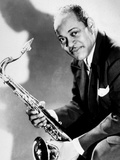 The Saxophonist Coleman Hawkins (1904-1969) in 40's
