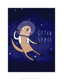 Otter Space - Katie Abey Cartoon Print Reproduction d'art par Katie Abey