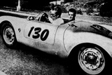 The American Actor James Dean Driving His Porsche Spider 550A with Rolf Wutherlich  in 1955