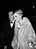 "Salvador Dali and Mia Farrow at the Premiere of the Film ""The Night of the Generals""  Paris"