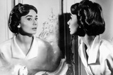 Actress Audrey Hepburn Looking at Her Reflection in the Mirror January 16  1957