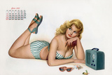 Pin Up Listening Radio  from Esquire Girl Calendar 1950 (June)
