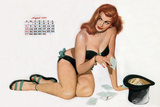 Pin Up Taking Cards in a Top Hat  from Esquire Girl Calendar 1950 (August)