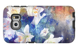 Artistic Abstract Watercolor Painting with Lily Flowers on Paper Texture