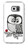 Retro Black and White Owl with Ladybug