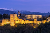 The Alhambra Palace Illuminated at Dusk  Granada  Andalucia  Spain