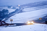 A Motorist Drives Through a Wintry Landscape on the B4520