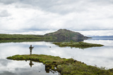 Man Fishing at Thingvallavatn Lake  Thingvellir (Pingvellir) National Park  Golden Circle  Iceland