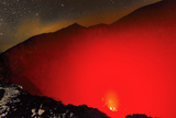 Glowing Active 700M Wide Volcanic Crater of Volcan Telica with Lava Vents Far Below