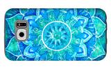 Abstract Blue Painted Picture with Circle Pattern  Mandala of Vishuddha Chakra
