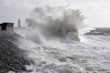 Waves Crash Against the Harbour Wall at Porthcawl  Bridgend  Wales  United Kingdom