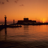 Mandraki Harbour at Sunrise  Rhodes Town  Rhodes Island  Dodecanese Islands  Greek Islands  Greece