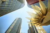 Glass and Golden Metal Lotus Installation in Front of HsBC Bank