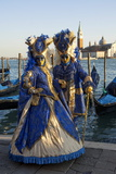 Two Ladies in Blue and Gold Masks  Venice Carnival  Venice  Veneto  Italy