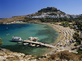 View over Beach and Castle  Lindos  Rhodes Island  Dodecanese Islands  Greek Islands  Greece