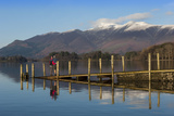Ashness Boat Landing  Two Walkers Enjoy the Skiddaw Range  Derwentwater