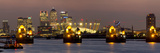 Thames Flood Barrier with Docklands and Canary Wharf Panorama from Woolwich