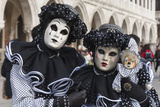 Couple in Black and White with Clown Puppet  Venice Carnival  Venice  Veneto  Italy  Europe