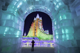 Illuminated Ice Sculpture at the Harbin Ice and Snow Festival in Harbin  Heilongjiang Province  Chi
