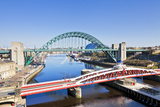 Newcastle Upon Tyne City with Tyne Bridge and Swing Bridge over River Tyne