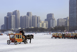 A Carriage on the Icebound Songhua River in Harbin  Heilongjiang  China  Asia