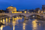 Castel Sant'Angelo and Ponte Vittorio Emanuelle Ii on the River Tiber at Night  Rome  Lazio  Italy