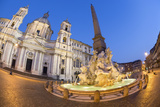Bernini's Fountain of the Four Rivers and Church of Sant'Agnese in Agone at Night