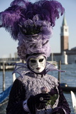 Lady in Black and Purple Mask and Feathered Hat  Venice Carnival  Venice  Veneto  Italy