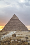 Sunset  Sphinx in Foreground and the Pyramid of Chephren  the Pyramids of Giza