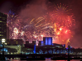 Fireworks over the South Bank  London  England  United Kingdom