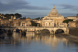 St Peter's Basilica  the River Tiber and Ponte Sant'Angelo  Rome  Lazio  Italy