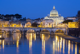 St Peter's Basilica  the River Tiber and Ponte Sant'Angelo at Night  Rome  Lazio  Italy