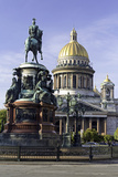 Golden Dome of St Isaac's Cathedral Built in 1818 and the Equestrian Statue of Tsar Nicholas