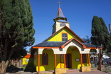All Wood Church in the Fishing Village of Quemchi  Island of Chiloe  Chile
