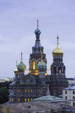Illuminated Domes of Church of the Saviour on Spilled Blood  St Petersburg  Russia