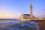 Exterior of Hassan Ll Mosque and Coastline at Dusk  Casablanca  Morocco  North Africa  Africa