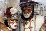 Lady and Gentleman in Red and White Masks  Venice Carnival  Venice  Veneto  Italy  Europe