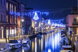 Christmas Decoration on a Canal at Night  Murano  Venice  UNESCO World Heritage Site  Veneto  Italy