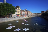 River Onyar During the Flower Festival  Girona  Catalonia  Spain